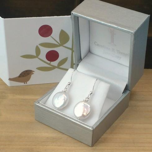 Natural white keshi freshwater coin pearl drop earrings