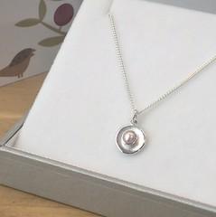 Natural pink AAA bouton pearl pebble pendant