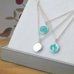 Aqua blue glass enamel reversible silver pebble pendant