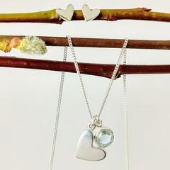 Blue topaz heart pendant and stud earrings