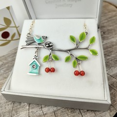NEW Sewing Bee bird branch necklace.
